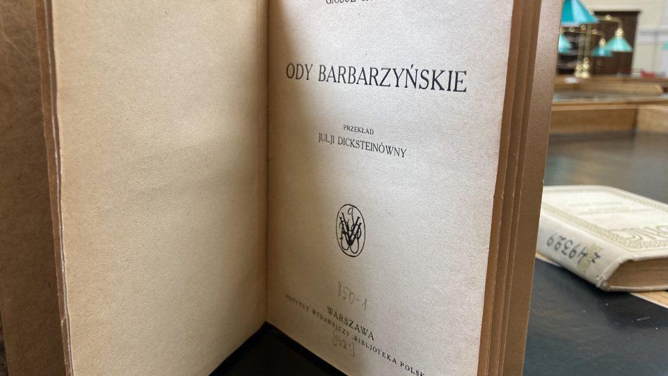 Ody Barbarzyńskie przetłumaczyła wielka popularyzatorska włoskiej literatury Julia Dickstein
