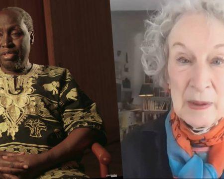 czarnoskóry mężczyzna i starsza kobieta z siwymi włosami